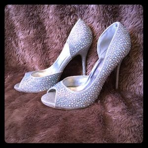 DEB Sparkly Silver Studded PeepToe Prom Heels, 9